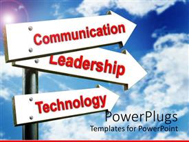 PowerPlugs: PowerPoint template with a beautiful depiction of signs with a cloudy background