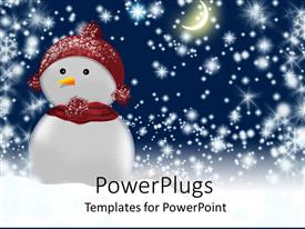 PowerPlugs: PowerPoint template with a beautiful depiction  of a snowman at night time