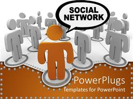 PowerPlugs: PowerPoint template with a beautiful depiction of a social network connecting various people