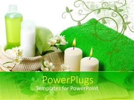 PowerPlugs: PowerPoint template with a beautiful depiction of spa products along with candles