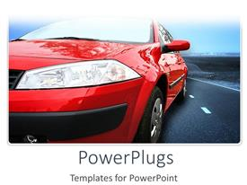 PowerPlugs: PowerPoint template with a beautiful depiction  of a sports car on a road