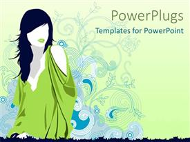 PowerPoint template displaying a beautiful depiction of a stylish female figure with floral background