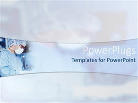 PowerPoint template displaying a beautiful depiction of a surgeon with clouds int he background