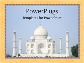 PowerPoint template displaying the beautiful depiction of taj mahal with yellowish background