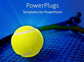 PowerPoint template displaying a beautiful depiction of a tennis racket and a ball