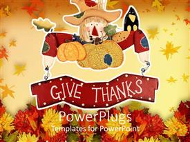 PowerPlugs: PowerPoint template with a beautiful depiction of thanksgiving with celebration material