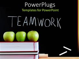 PowerPoint template displaying a beautiful depiction  of  three apples and the word teamwork