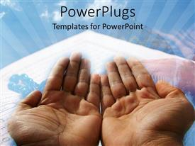 PowerPlugs: PowerPoint template with a beautiful depiction of two hands praying with clouds in the background