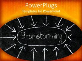 PowerPoint template displaying a beautiful depiction  of various arrows pointing towards brainstorming
