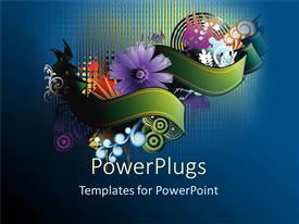 PowerPoint template displaying a beautiful depiction of various flowers being wrapped and bluish background