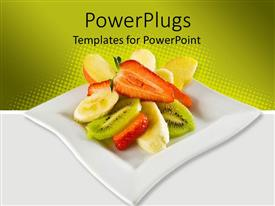 PowerPoint template displaying a beautiful depiction of various fruits in a plate