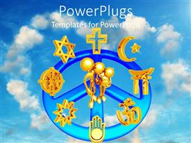 PowerPoint template displaying a beautiful depiction of various religious signs and unity between them