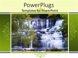 PowerPoint template displaying beautiful depiction of a water fall with tress around