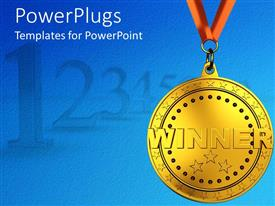 PowerPlugs: PowerPoint template with a beautiful depiction  of a winner medal with bluish background