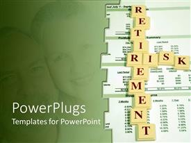 PowerPlugs: PowerPoint template with a beautiful depiction of the words retirement risk along with a couple in the background