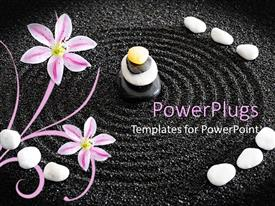PowerPlugs: PowerPoint template with a beautiful depiction of zen garden along with circles in the black sand