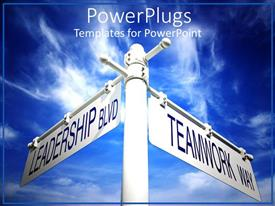 PowerPlugs: PowerPoint template with a beautiful description of two signs with clouds in the background