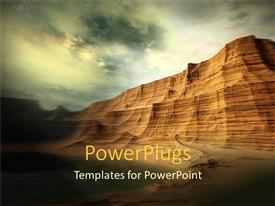 PowerPoint template displaying beautiful desert landscape and rocky hill under cloudy sky
