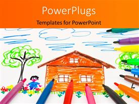 PowerPoint template displaying beautiful drawing by kid of orange house and pencils