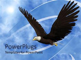 PowerPlugs: PowerPoint template with a beautiful eagle flying in the air with clouds in the background