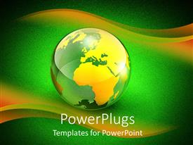 PowerPlugs: PowerPoint template with beautiful earth globe with yellow and green background