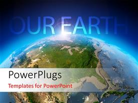 PowerPlugs: PowerPoint template with beautiful earth surface glowing against a blue background