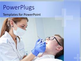 PowerPlugs: PowerPoint template with beautiful female dentist examining dentition of male patient on sick bed
