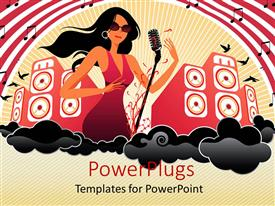 PowerPlugs: PowerPoint template with beautiful female musician with mic and huge speakers in background