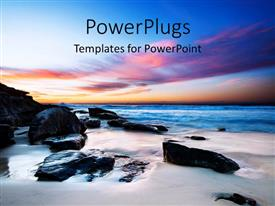 PowerPlugs: PowerPoint template with beautiful field with black rocks in beach sand and colored sky