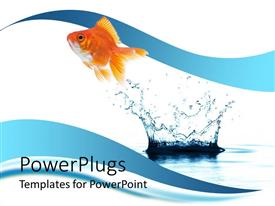 PowerPlugs: PowerPoint template with a beautiful fish and a water splash with clear background