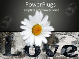 PowerPlugs: PowerPoint template with a beautiful flower with hearts in the background