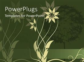 PowerPoint template displaying a beautiful flower with its reflection in the background