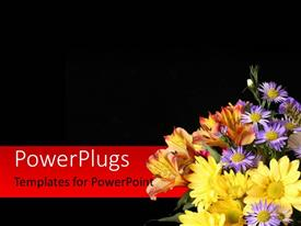 Amazing presentation theme consisting of beautiful flowers in right bottom corner over black background