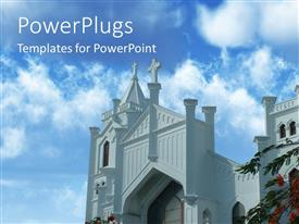 PowerPoint template displaying beautiful front view of church building with blue cloudy sky overhead