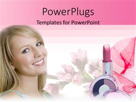 PowerPoint template displaying a beautiful girl along with lipstick and pinkish background