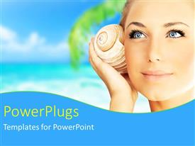 PowerPlugs: PowerPoint template with a beautiful girl with a beach in the background