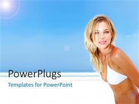 PowerPlugs: PowerPoint template with a beautiful girl on the beach with bluish background