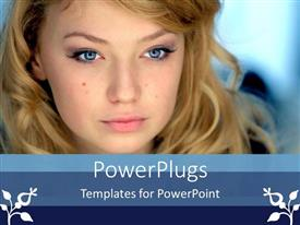 PowerPoint template displaying a beautiful girl with bluish background