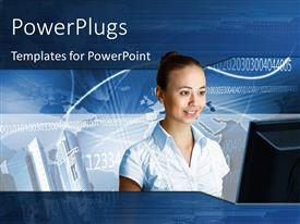 PowerPlugs: PowerPoint template with a beautiful girl with bluish background and place for text