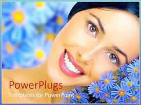PowerPoint template displaying a beautiful girl with bluish flowers