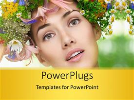 PowerPlugs: PowerPoint template with beautiful girl with bunch of multicolor flowers and nature