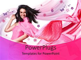 PowerPlugs: PowerPoint template with a beautiful girl with butterflies in the background
