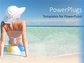 PowerPoint template displaying a beautiful girl enjoying on the beach