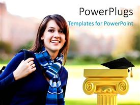 PowerPlugs: PowerPoint template with a beautiful girl with the graduation cap