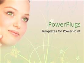 Presentation design featuring a beautiful girl with green eyes