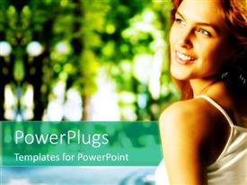PowerPoint template displaying a beautiful girl with greenery in the background