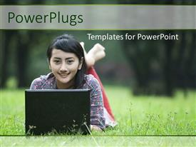 PowerPlugs: PowerPoint template with a beautiful girl with  laptop and greenery around