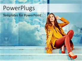 PowerPlugs: PowerPoint template with a beautiful girl with mirror in the background