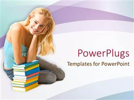 PowerPlugs: PowerPoint template with a beautiful girl with a number of books