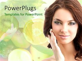 PowerPoint template displaying a beautiful girl with a number of fruits in the background